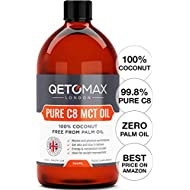 Extra Pure C8 MCT Oil, 100% Coconut Derived, Zero Palm Oil, 500ml by Qetomax | 99.8% C8 Purity, Ideal for Bulletproof Coffee, Keto Diet, Made in UK