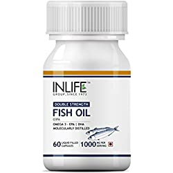 INLIFE Fish Oil Omega 3 Fatty Acids with EPA 180 mg DHA 120 mg Supplement (Quick Release) 1000 mg (per serving) - 60 Liquid Filled Hard Gelatin Capsules