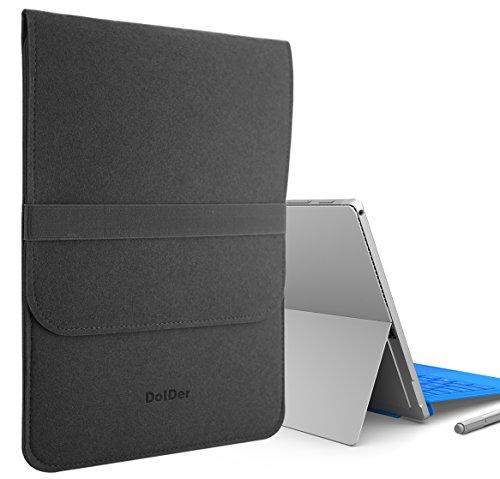 DolDer Microsoft Surface Pro 3/4 Filz Tasche Sleeve Hülle Ultrabook Laptop Tasche Speziell für Microsoft Surface Pro 3/4, Schwarz