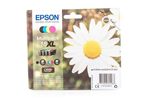 Epson Tintenpatronen Xp 410 (Original Tinte passend für Epson Expression Home XP-200 Series Epson 18XL C13T18164010 - 4x Premium Drucker-Patrone - Schwarz, Cyan, Magenta, Gelb - 1x 470 & 3x 450 Seiten - 1x 11,5 & 3x 6,6 ml)