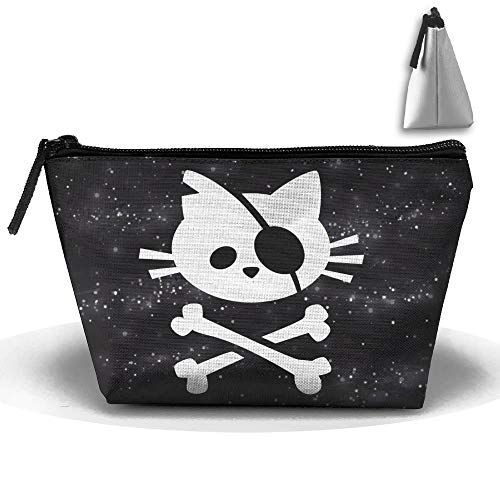 Pirate Cat Skull And Crossbone Trapezoid Receive Bag Makeup Bag Home Office Travel Camping Sport Gym Outdoor