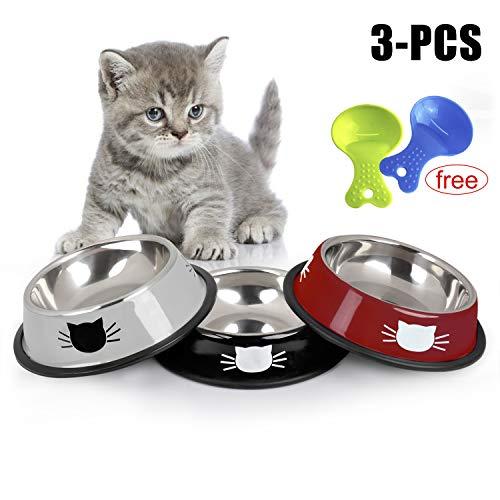 Legendog Futternapf Katze, 3 Stück Edelstahl rutschfest Katzen Napf | Katzennapf Set | Fressnapf Katze | Futterschüssel Katze | Wasser Fütterung Schüssel -