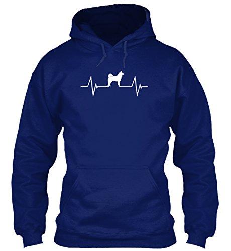 Bequemer Hoodie Damen / Herren / Unisex von Teespring | Originelles Outfit für jeden Anlass und lustige Geschenksidee - Akita Herzschlag EKG - Hundeliebhaber (Herren Hoodie Akita)