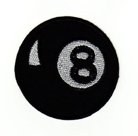 Billard Billiard Kugel Schwarz 8 Ball Aufnäher Bügelbild Aufbügler Iron on Patches Applikation