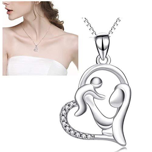 Damen Anhänger Halskette 925 Sterling Silber Schlüsselbein Kette Mutter und Kind Anhänger Herzform Halskette Frau Muttertag Artikel Schmuck (Für Kinder Muttertag-projekte)