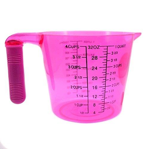 Cucinare, Cuocere misurazione jug-high cucina Utility Brocca per pesare misura Farina, zucchero, water-with Impugnatura Morbida in 4colori (Rosa)