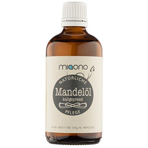 Körper-Öl-reines Mandel (Mandelöl (250ml) - 100% reines kaltgepresstes Öl in einer Glasflache von miaono)