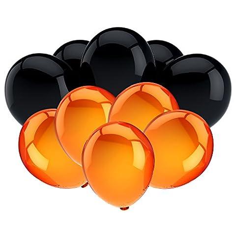 Hicarer 100 Pièces 10 Pouces Ballons de Fête Ballons à Latex pour la Décoration de Halloween, Noir et Orange