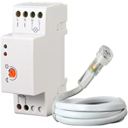 Maclean MCE83 Interrupteur crépusculaire pour Rail DIN avec sonde Externe 220-240V CA, 50Hz 20A