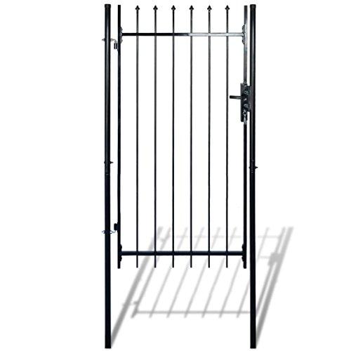 mewmewcat Stabil Gartentor mit Speerspitzen (einzeln) Einzeltor Gartentür aus Stahl 100 x 150 cm