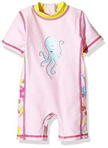 Aquatinto Baby - Mädchen Bade-Einteiler mit Octopus-Print, UV +50, Gr. 86 (Herstellergröße: 86/92), Mehrfarbig (rosa/gelb)