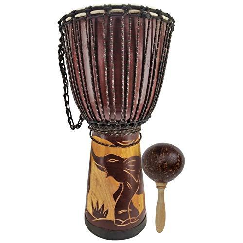 2 er Set 60cm Profi Djembe Trommel Bongo Afrika Art Kinder Buschtrommel Elefant + Rassel R2