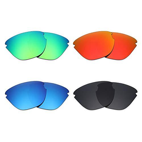 Mryok polarisierte Ersatzgläser für Oakley Frogskins Lite Sonnenbrille, Stealth Black/Fire Red/Ice Blue/Smaragdgrün, 4 Paar