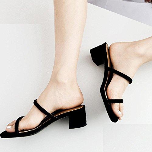 GJDE Da donna Sandali Formale Serata e festa Club Shoes Quadrato Heel di Blocco PU Black
