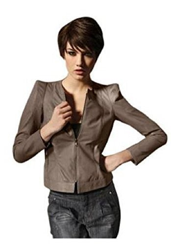 Lederjacke aus Lammnappa von Best Connections in Taupe Taupe