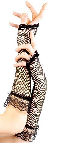Smiffys Femme, Mitaines en résille, avec dentelle, 22550