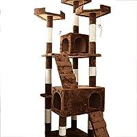 ZXWNB Albero Gatto E La Torre, A più Strati di Cat Cage Kit Camera Deluxe 2 Appartamento attività Torre Sala Giochi, Cat Arrampicata Pet Gatto Nido,Marrone