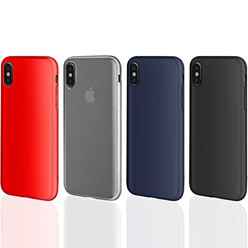 4 pcs × custodia iphone x cover silicone , leathlux [ultra sottile] morbido tpu custodie protettivo flessibile gomma gel skin cover per apple iphone x 5.8 pollici nero, blu scuro, traslucido, rosso