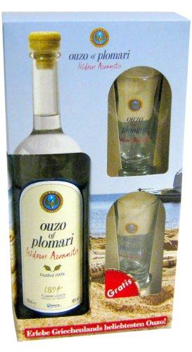 Ouzo Plomari 0,7l + 2x Ouzo-Glas im Geschenkkarton