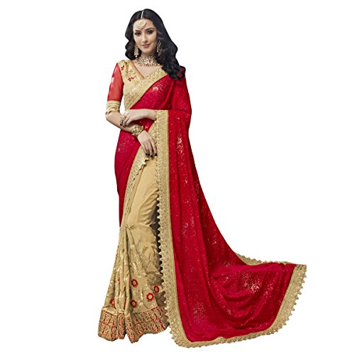 Triveni Womens Faux Georgette Embroidered Wedding Beige Colour saree with Blouse -TSNSE5004