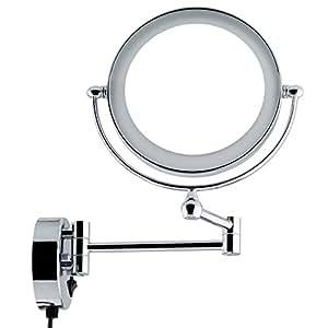 spaire led beleuchter kosmetikspiegel schminkspiegel badspiegel 8 zoll mit wandhalterung 5 fach. Black Bedroom Furniture Sets. Home Design Ideas