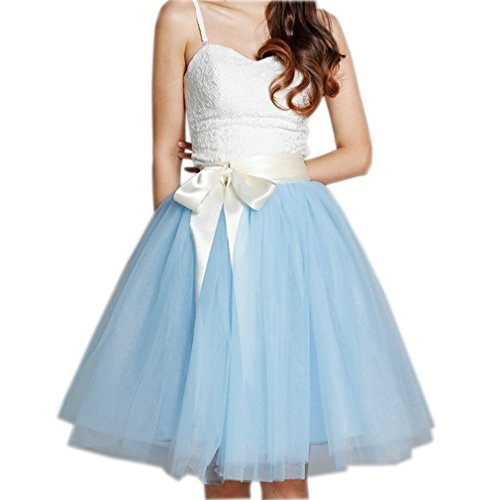 CoutureBridal® Jupe Femme Courte avec Nœud Tutu Tulle Jupon Années 50 Vintage 5 Couches de voile Bleu