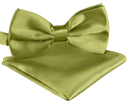 BomGuard Fliege Einstecktuch Set für Herren olive I Männer Fliege für Hochzeit, Party oder edele Anlässe I Trendy Bow Tie I (Party White Anzug)