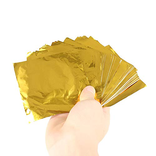 Fliyeong Premium 100 stücke Folienverpackungen Platz Süßigkeiten Süßigkeiten Schokolade Geschenk Papier Aluminiumfolie Wrapper Gold