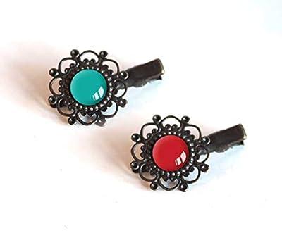 2 Barrettes à cheveux, Cabochon 12 mm, Tons bleu, turquoise et rouge, bronze