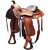 Sillín Western modelo Reining, Seggio de cuero liso–se00067, marrón