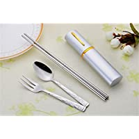 JwlqAy Durable 3 Unids/Set Acero Inoxidable Houshoud Portable Fork Fork Palillos Cubiertos Set (