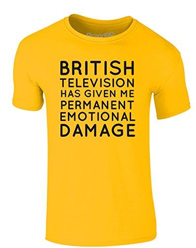 Brand88 - Permanent Emotional Damage, Erwachsene Gedrucktes T-Shirt Gänseblümchen-Gelb/Schwarz