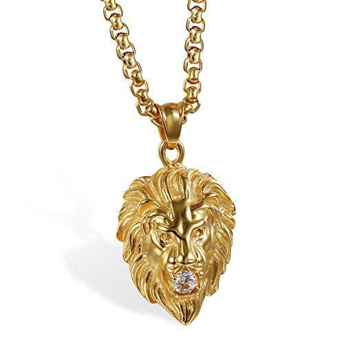 JewelryWe Schmuck Herren Biker Halskette, Edelstahl Zirkonia Gotik Punk Rock Löwe Löwenkopf Anhänger mit 22 Zoll Kette, Gold
