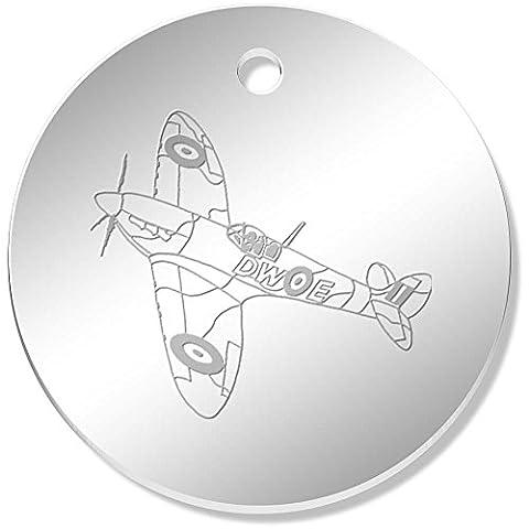 11 x 34mm 'Avion Spitfire' pendentif miroir (PN00022604)