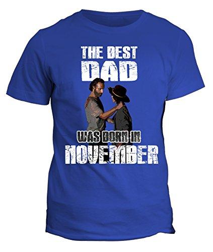 Tshirt compleanno The Walking Dead - The best dad was born in November - il miglior papà è nato a Novembre - Rick and Carl - idea regalo - in cotone Blu