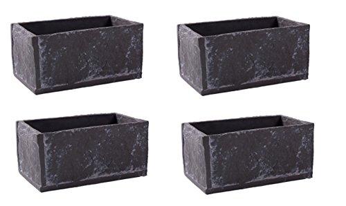 Ensemble de 4 pots de fleurs, cache pots de forme rectangulaire en ciment aspect ardoise 18*10.5*8