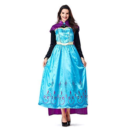 HOOLAZA Frauen Märchen Gefrorene Königin ELSA Kostüm Prinzessin Langes Kleid 2 Stücke (Gefrorene Königin Kostüm)