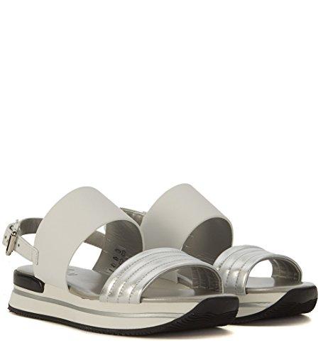 Sandalo Hogan H257 in pelle bianca e argento Bianco