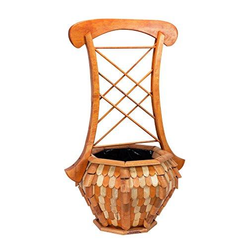 Fioriera cassetta pergola con grigliato in legno naturale, mis 59,5 x 46,5 x 93,5 cm, colore: legno