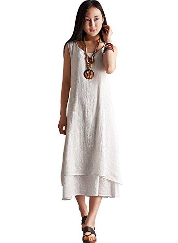 Azbro Women's Essential Solid Sleeveless Linen Midi Long Dress Black