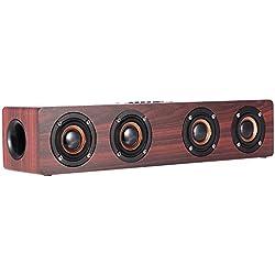 12W Bluetooth Altavoz Madera Inalámbrico Portátil 3000mAh 12-20h Bluetooth 4.2 Estéreo Altavoces Graves Mejorado con funcion de Reproductor MP3, Radio FM, Tarjeta TF, Manos Libres, AUX 3.5mm Entrada Audio Nueva Diseño Retro Para Smartphone, Tablet, Mac, TV etc. (Rojo)
