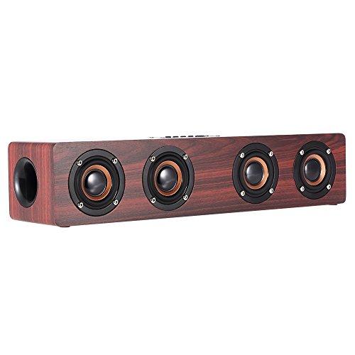 12W Bluetooth Lautsprecher Holz Bluetooth Wireless Speaker Aktiv 3000mAh 12-20h Bluetooth 4.2 Subwoofer Reinem Bass MP3-Player, FM Radio, TF-Karte, Freisprecheinrichtung, 3,5-mm-AUX-Audio-Eingang Neues Design Retro für iPhone, Samsung und mehr Smartphone, Tablet, Mac, TV usw (Rote) (Regal Center-lautsprecher)