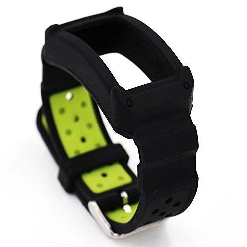 Fatetec Silikon Uhr Armband Ersatz Band Riemen für Samsung Galaxy Gear Fit 2 SM-R360 Armband Smartwatch (Black green)