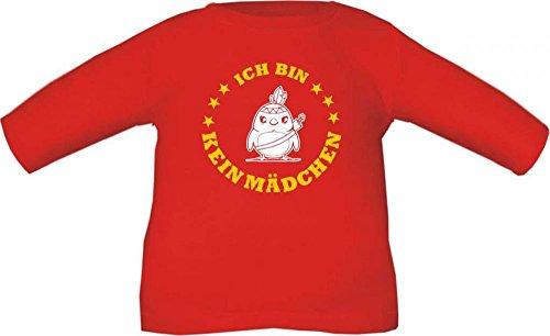 Baby / Kinder T-Shirt langarm Ich bin kein Mädchen / Größe 60 - 152 in 6 Farben Rot