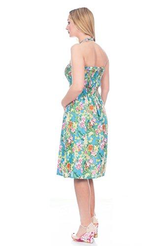 Pistachio - Robe d'Été en Coton Motif Floral Cachemire 3 en 1 Tropical Blue