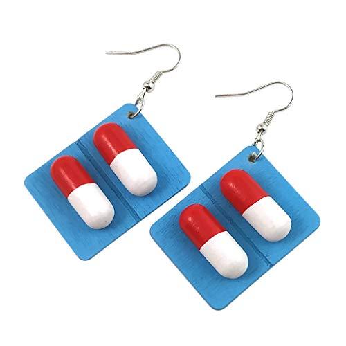 VithconlFrauen Haken Ohrringe Kreative Pillen Kapsel Holz Tropfen Anhänger Schmuck Geschenk (White) (Gold 14k Halskette Für White Männer)