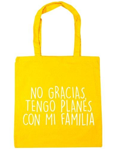 HippoWarehouse No Gracias, Tengo Planes Con Mi Familia Bolso de Playa Bolsa Compra Con Asas para gimnasio 42cm x 38cm 10 litros capacidad
