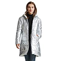 TIMEMEAN Womens Quilted Puffer Long Jacket Winter Lightweight Thicked Down Coat Silver XL