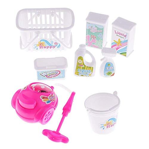 GIVBRO Puppen-Werkzeug für Barbie-Staubsauger, Waschmittel, Eimer, Wäsche, Hausreinigung, Kinderspielzeug, 8 Stück