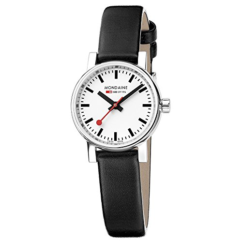 Mondaine Women's  evo2 petite 26mm sapphire  Watch with St. Steel polished Case white Dial and black leather Strap MSE.26110.LB